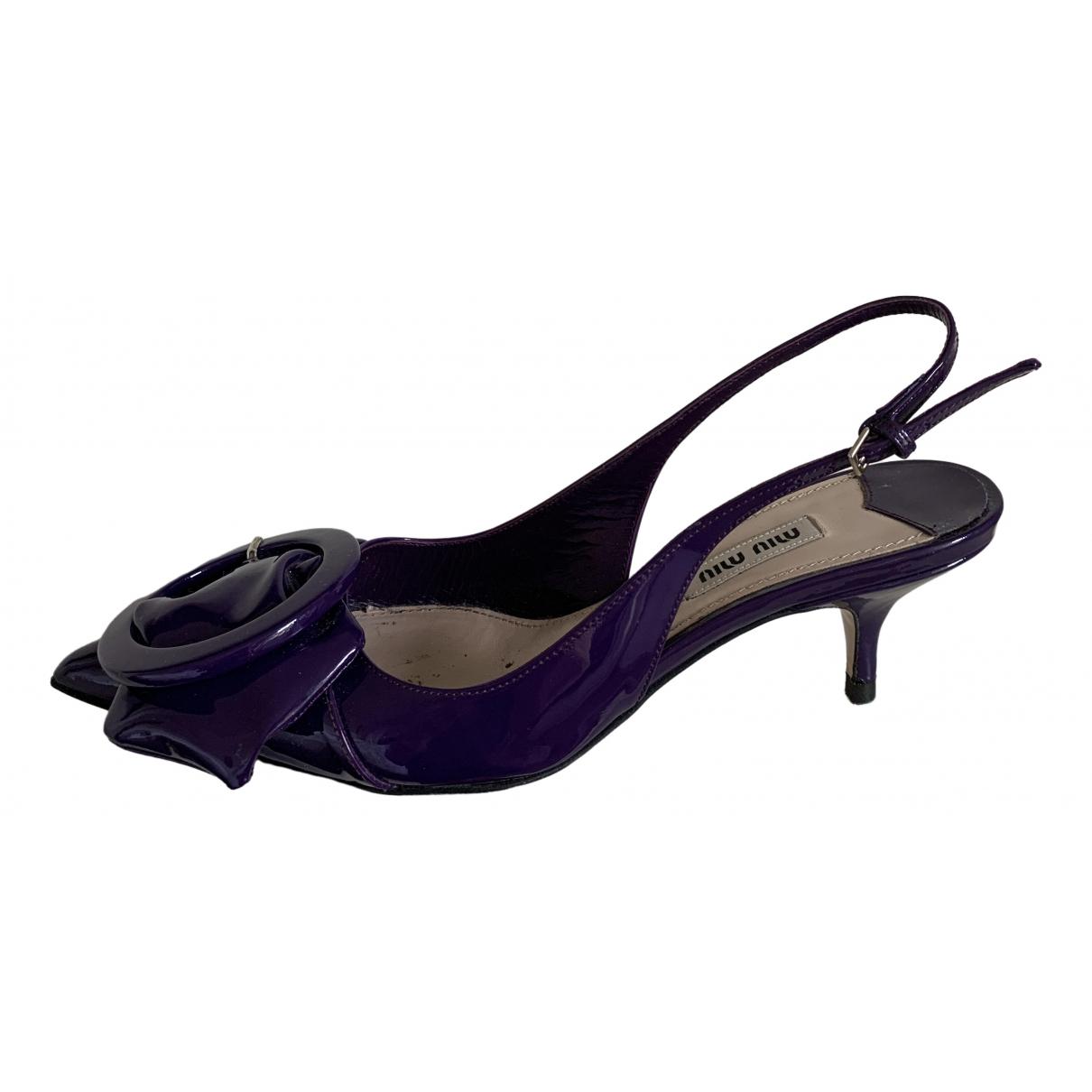 Miu Miu - Sandales   pour femme en cuir verni - violet
