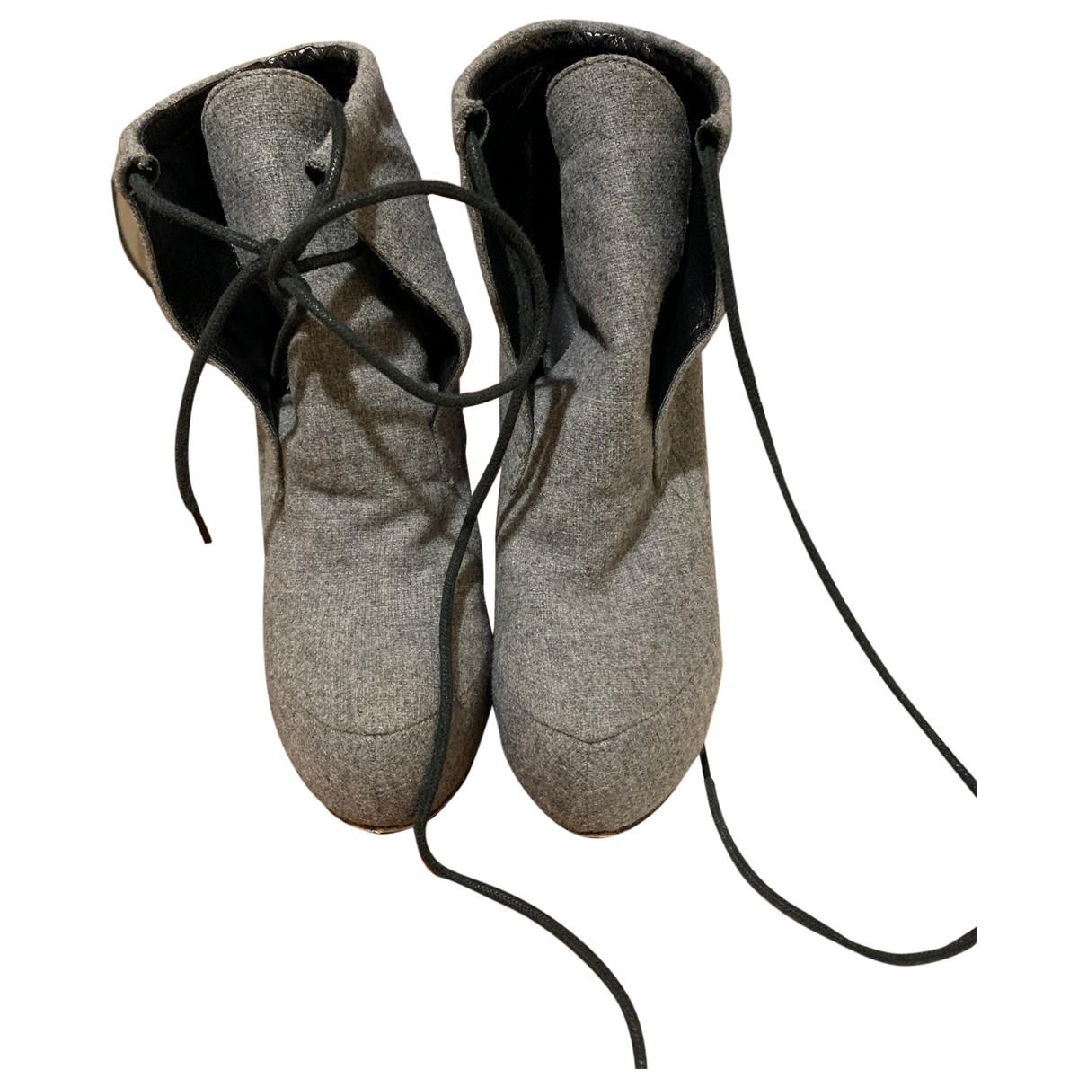 Alexander Wang \N Grey Tweed Ankle boots for Women 38 EU