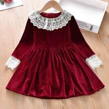 Toddler Girls Velvet Contrast Lace Collar A-line Dress