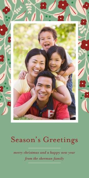 Holiday Photo Cards Flat Glossy Photo Paper Cards with Envelopes, 4x8, Card & Stationery -Flower Season's Greetings