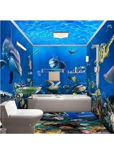 Underwater Animals 3D Waterproof Bathroom Wall Murals