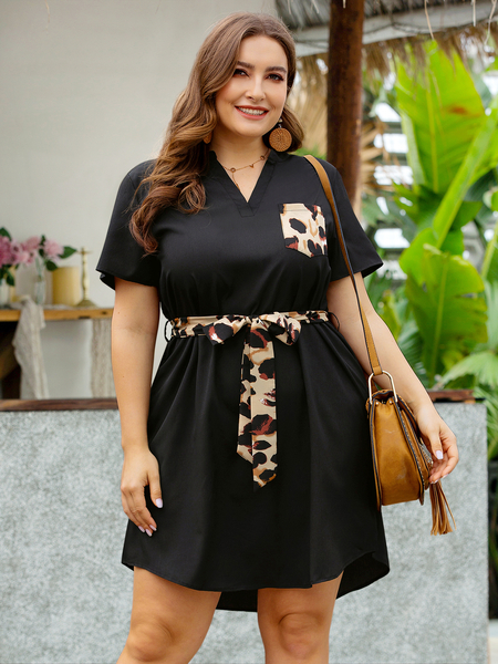 Yoins Plus Size V-neck Belt design Short Sleeves Mini  Leopard Patchwork Dress