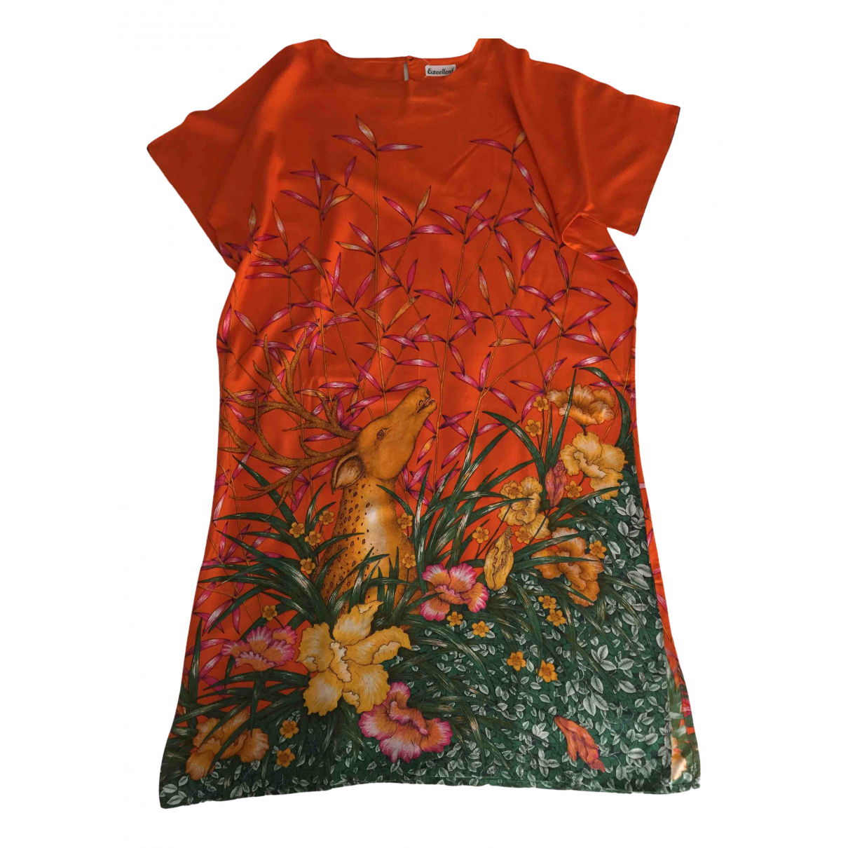 Non Signé / Unsigned Oversize Orange Cotton dress for Women M International