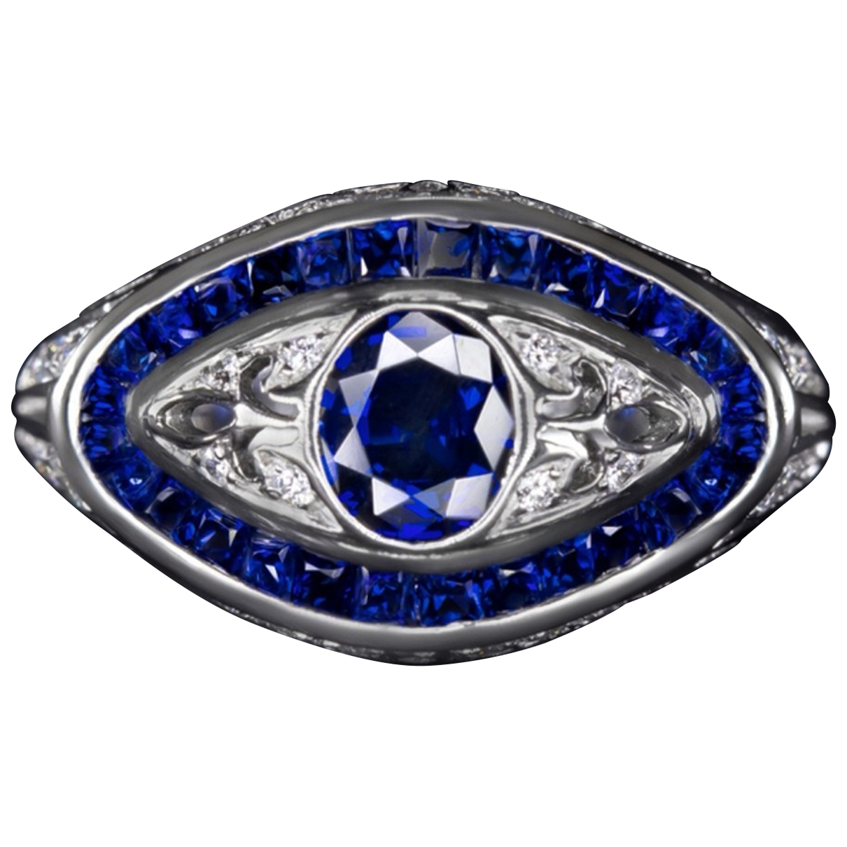 Non Signe / Unsigned Saphir Ring in  Blau Platin