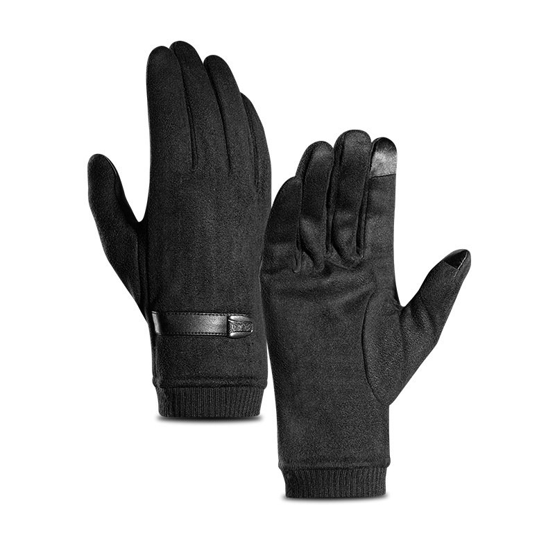 Men Winter Touch Screen Windproof Warm Velvet Full-finger Gloves Fitness Skiing Driving Gloves