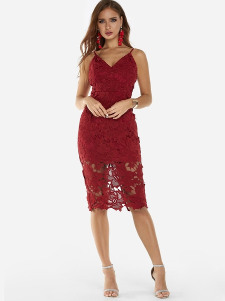 Yoins Burgundy Lace Slit Design V-neck Sleeveless Backless Midi Dress