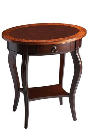 Jeanette Collection 0532211 Oval Accent Table with Traditional Style  Oval Shape  Medium Density Fiberboard (MDF) and Rubberwood Solids in Cherry