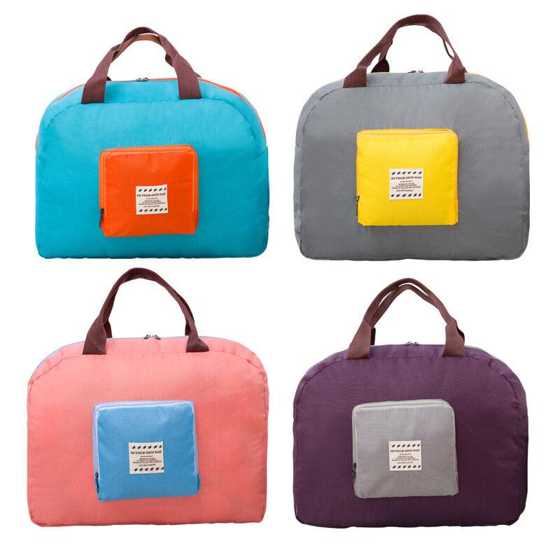 Folding Shoulder Storage Bag Korean Polyester Luggage Storage Bag Travel Shopping Tote Bag