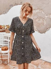 V-neck Flounce Sleeve Button Front A-line Dress