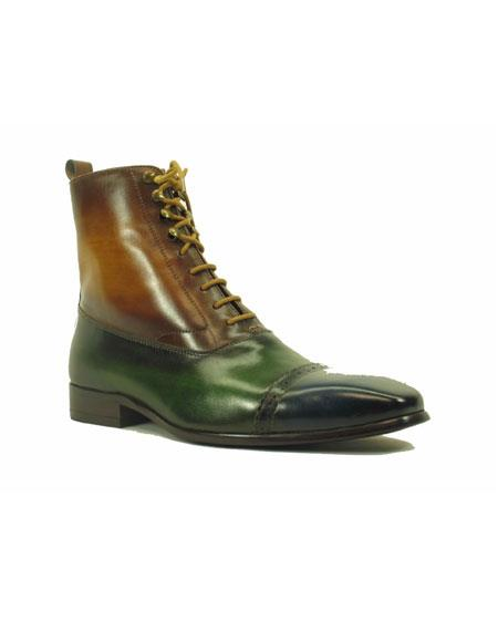 Men's Lace Up Navy ~ Olive ~ Cognac Genuine Leather Side Zipper Shoes