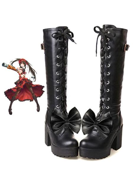 Milanoo Date A Live Tokisaki Kurumi Halloween Cosplay Shoes Gothic Lolita Dress Version