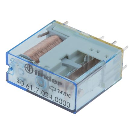 Finder , 24V dc Coil Non-Latching Relay SPDT, 16A Switching Current PCB Mount Single Pole