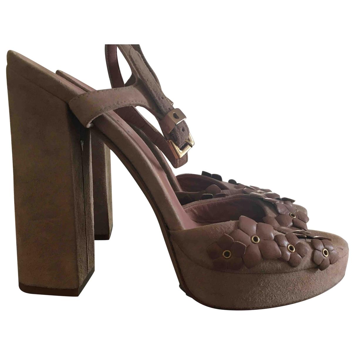 Twin Set - Sandales   pour femme en suede - camel