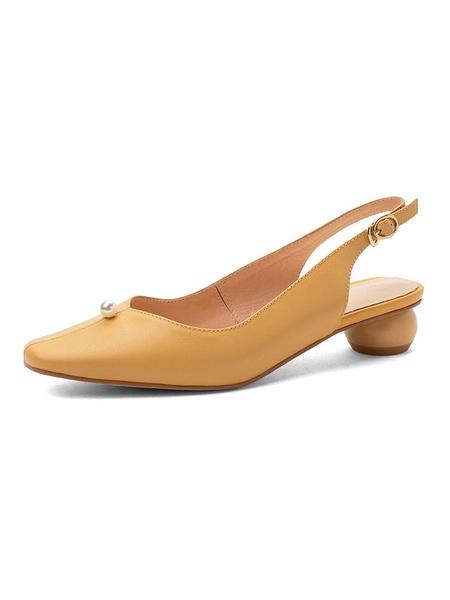 Milanoo Zapatos de tacon bajo de mujer con perlas de punta cuadrada y zapatos de tacon grueso