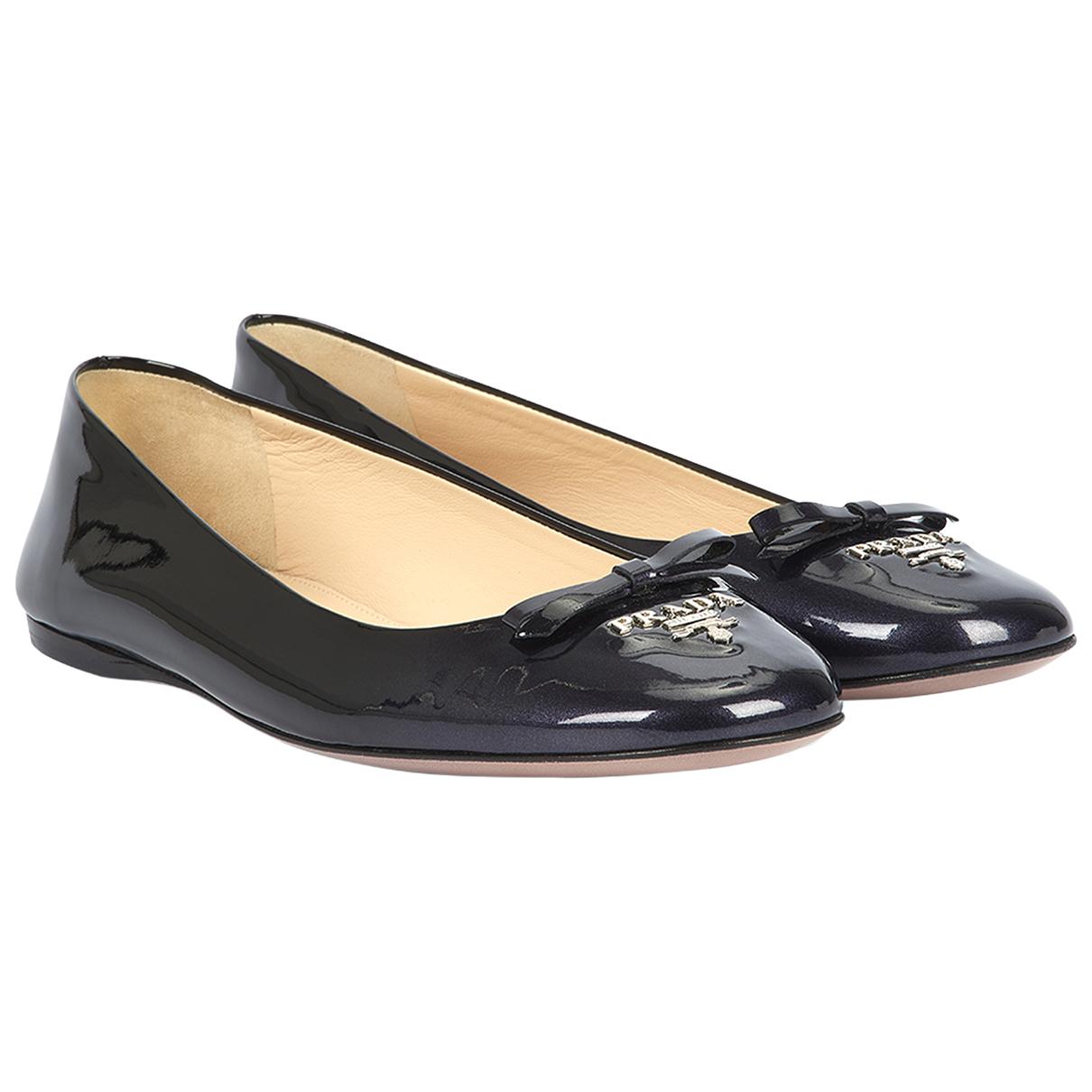 Prada N Navy Patent leather Ballet flats for Women 4.5 UK