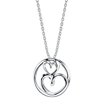 Footnotes Cubic Zirconia Sterling Silver 18 Inch Cable Heart Pendant Necklace, One Size , No Color Family