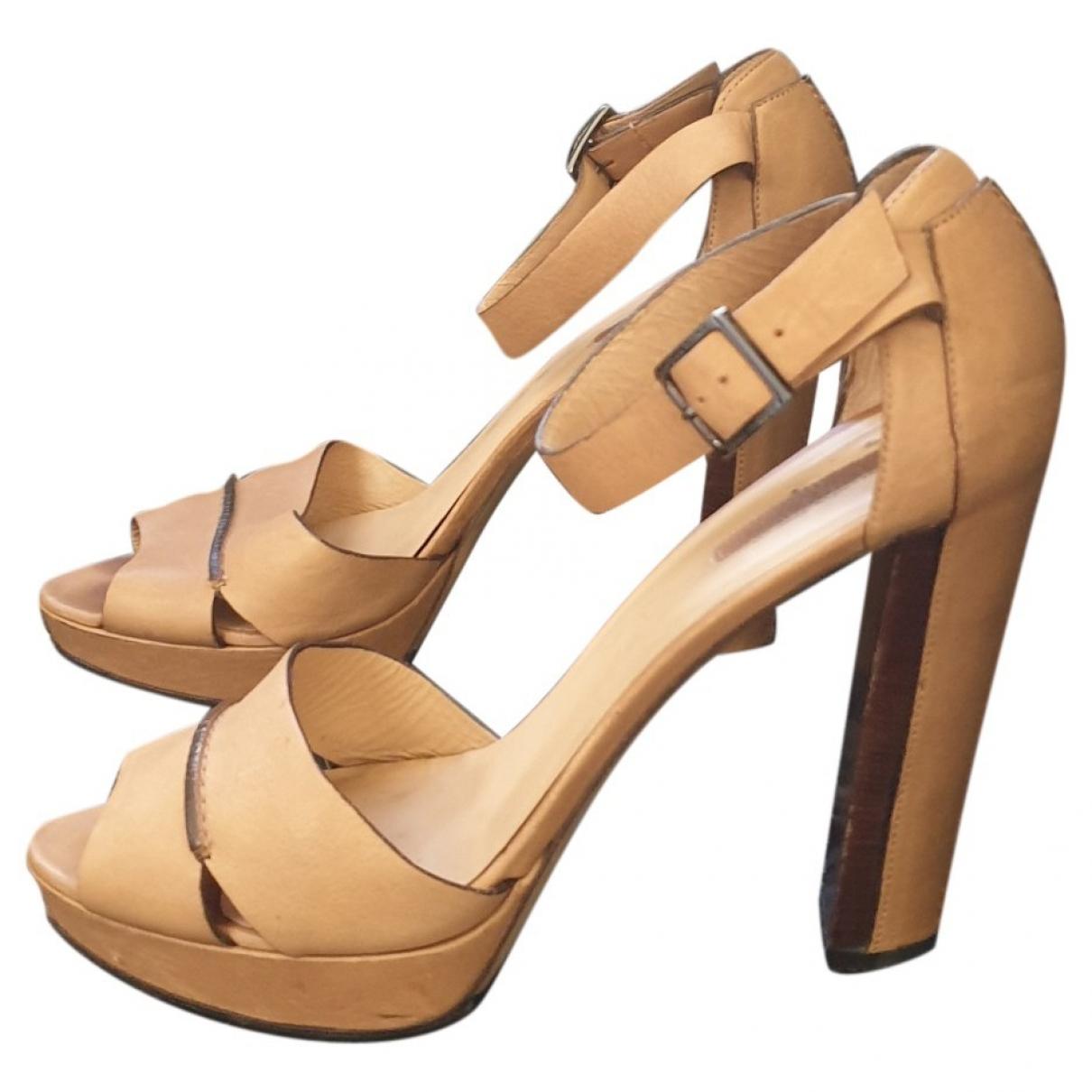 Longchamp - Sandales   pour femme en cuir - beige