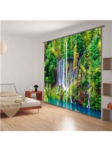 3D Green Forest Stream Printed Thick Polyester Natural Scenery 2 Panels Custom Curtain