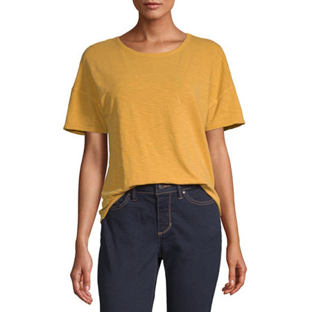 a.n.a-Womens Round Neck Short Sleeve T-Shirt, X-small , Yellow