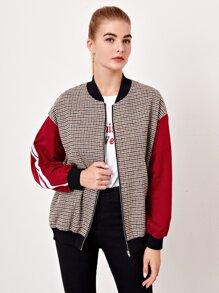 Drop Shoulder Striped Side Houndstooth Pattern Bomber Jacket