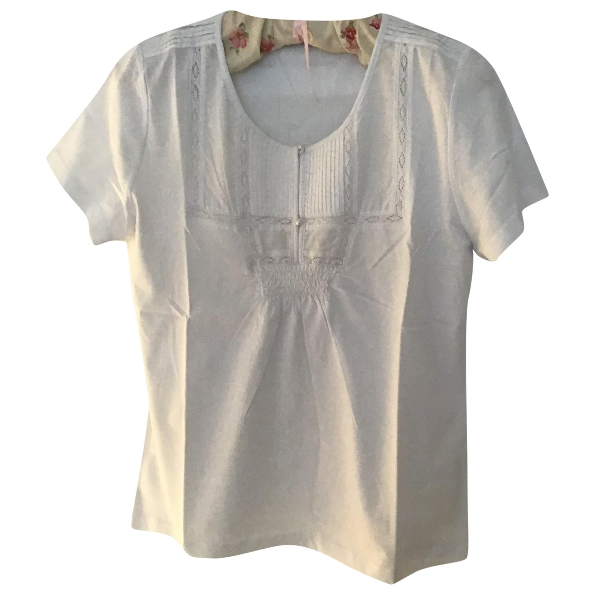 Non Signé / Unsigned \N White Cotton  top for Women 44 FR