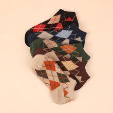 5pairs Geometric Pattern Socks