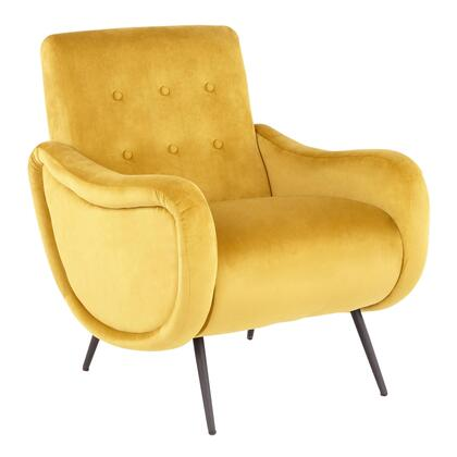 Rafael Collection CHR-RAFAELBKVY Lounge Chair with Velvet Fabric Upholstery  Contemporary Style  High Tufted Backrest and Metal Legs in Yellow
