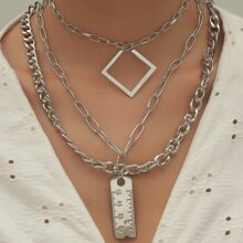 3pcs Ruler Charm Layered Chain Necklace