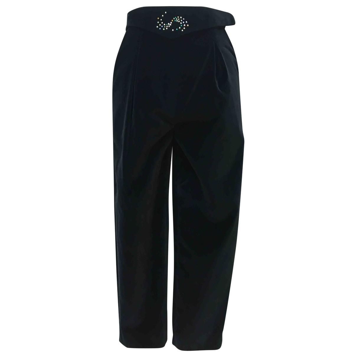 Non Signé / Unsigned \N Black Velvet Trousers for Women 42 IT