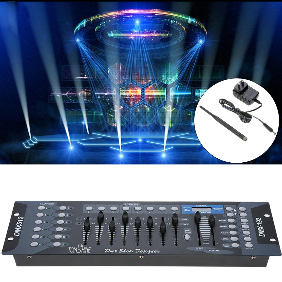192 Channels DMX512 Light Controller Show Designer Console For Stage Light US Plug