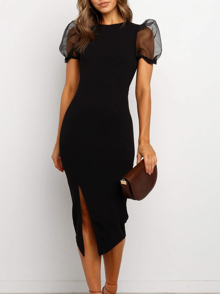 Milanoo Bodycon Dresses Black Split Sexy Puff Sleeves Pencil Dress