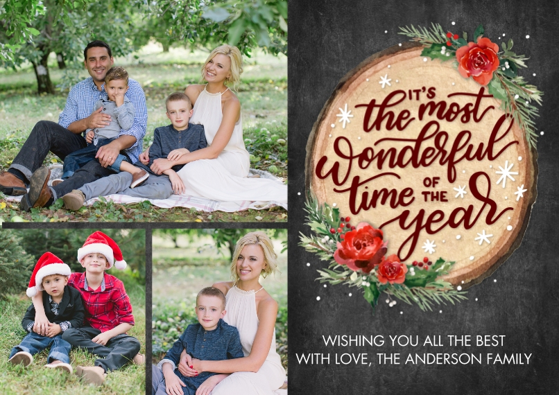 Christmas Photo Cards 5x7 Cards, Premium Cardstock 120lb, Card & Stationery -Christmas Script Wood Plaque by Tumbalina
