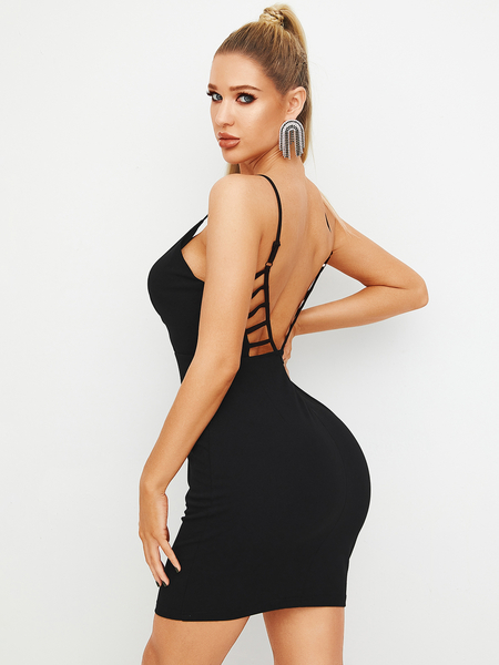 YOINS Black Cut Out Backless Design Spaghetti Strap Dress