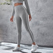 Leggings mit Kontrast Band und elastischer Taille