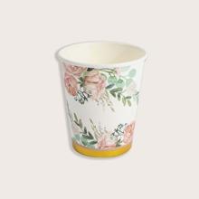10 piezas taza de papel desechable con estampado de flor
