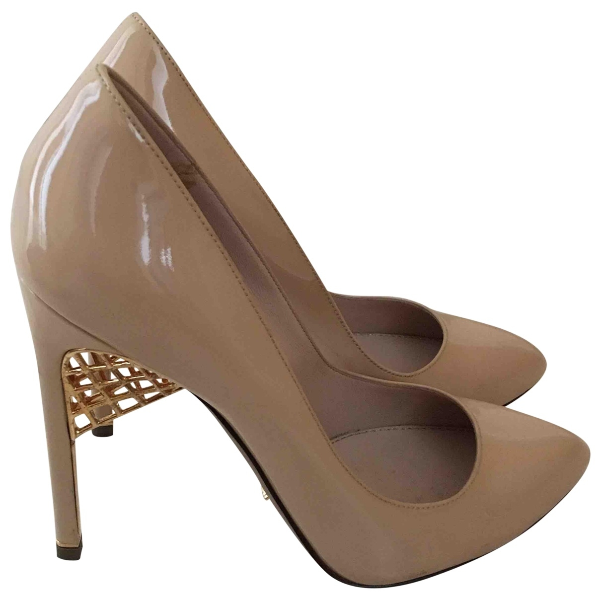 Sergio Rossi - Escarpins   pour femme en cuir verni - beige