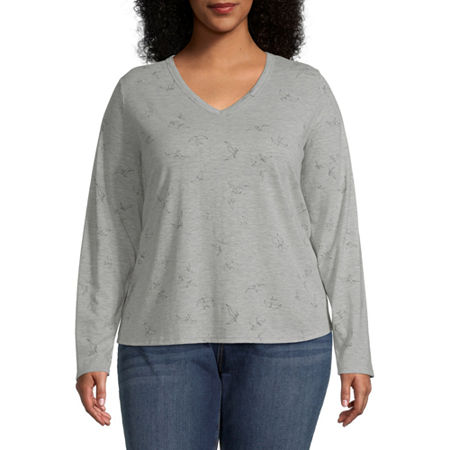 a.n.a Plus-Womens V Neck Long Sleeve T-Shirt, 3x , Gray