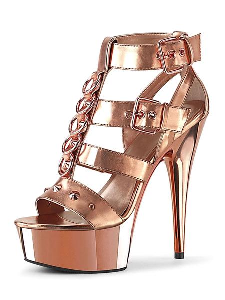 Milanoo High Heel Sexy Sandals Black PU Leather Peep Toe Gladiator Sexy Platform Sandals