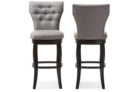 BBT5222-GREY Baxton Studio Leonice Modern and Contemporary Grey Fabric Upholstered Button-tufted 29-Inch Swivel Bar Stool (Set of