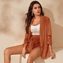 Shawl Collar Ruched Sleeve Blazer and Self Belted Shorts Set