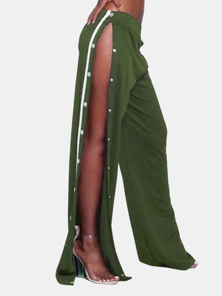 Yoins Active High Side Slit Rivet Design Wide Leg Sport High Waist Pants in Green