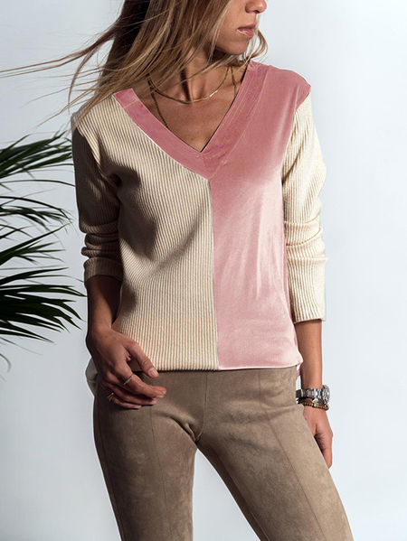 Yoins Khaki and Pink Colorblock Top
