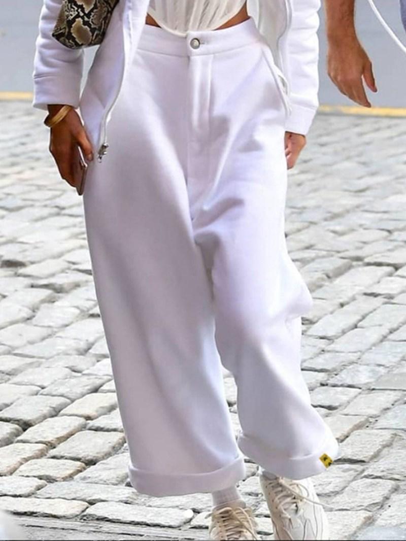 Ericdress Plain Loose High Waist Full Length Casual Pants