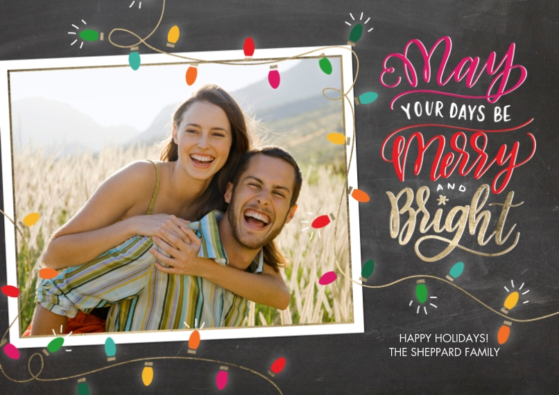 Christmas Photo Cards 5x7 Cards, Premium Cardstock 120lb with Scalloped Corners, Card & Stationery -Christmas Festive Lights Frame by Tumbalina