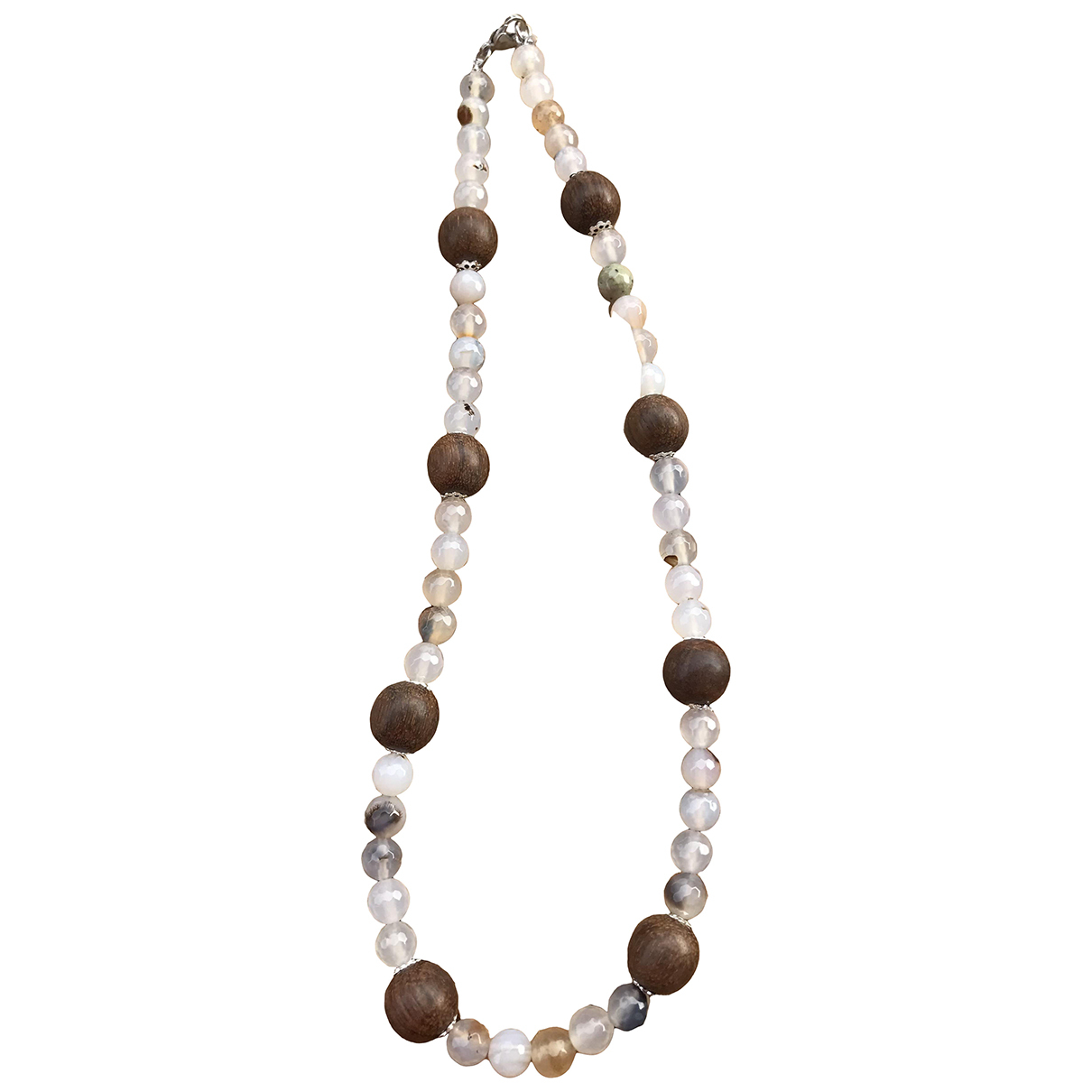 Non Signé / Unsigned Opale Multicolour Wood necklace for Women N