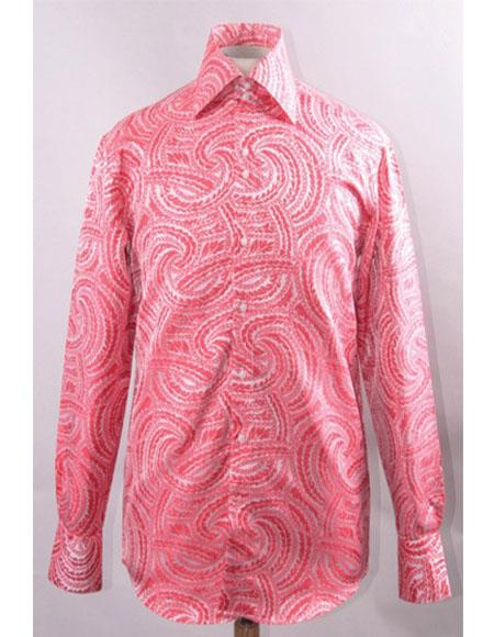 Mens Fuchsia Shiny ~ Silky Fabric Braid Swirl Pattern Shirts