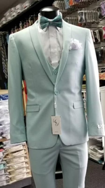 Mens Single Breasted Shawl Lapel Light Blue Suit