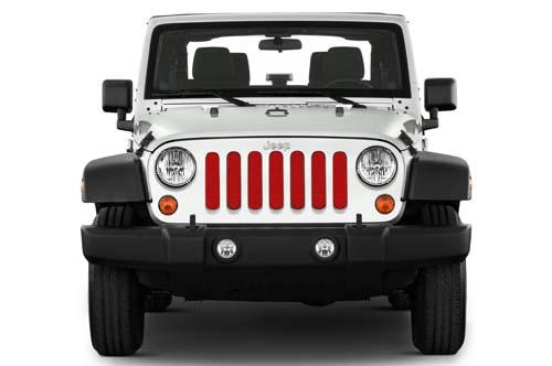 Jeep Wrangler Grill Inserts 07-18 JK Flame Red Under The Sun Inserts INSRT-SLDFLMRD-JK