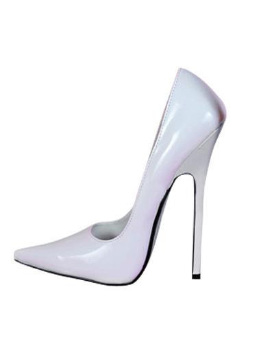 Milanoo High Heel White Patent Pump Shoes