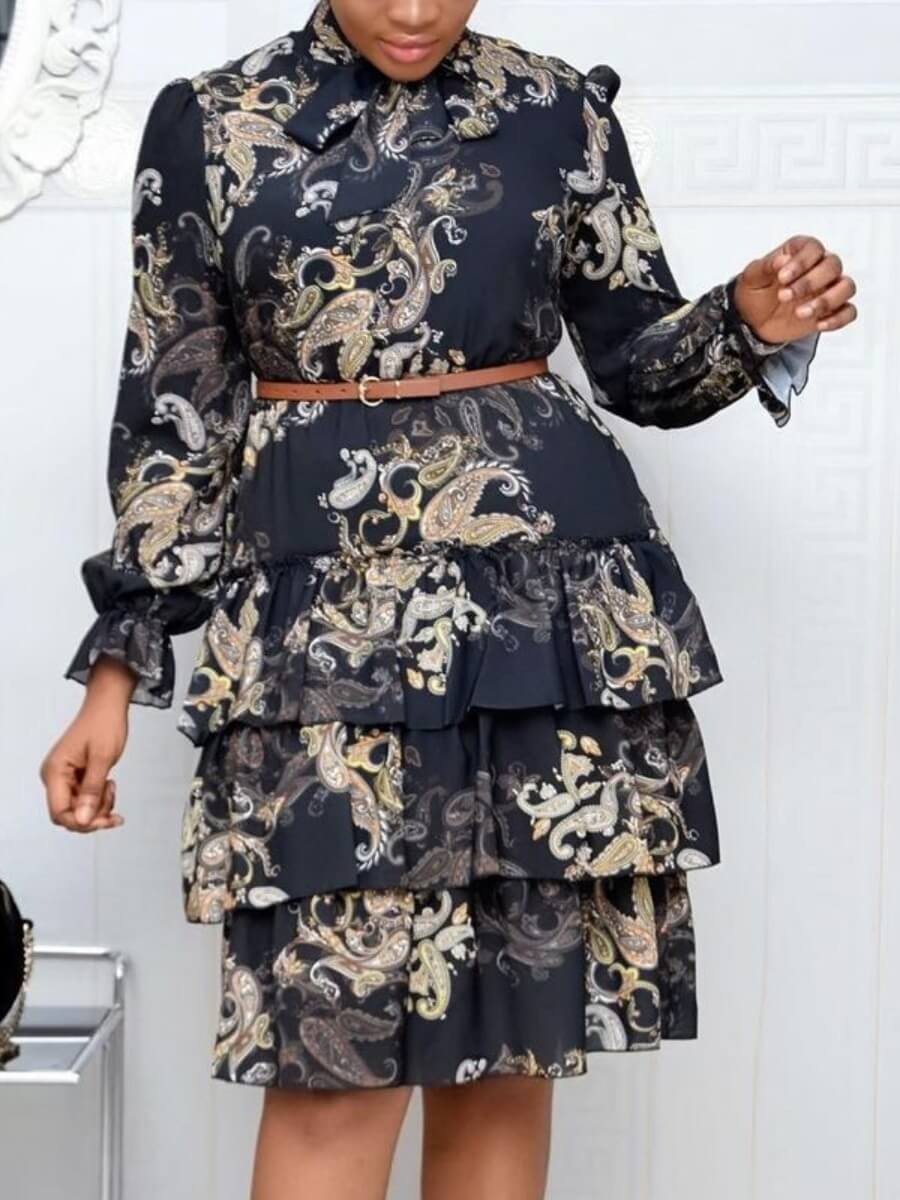 LW Lovely Chic Floral Print Layered Cascading Dark Blue Knee Length Dress(Without Belt